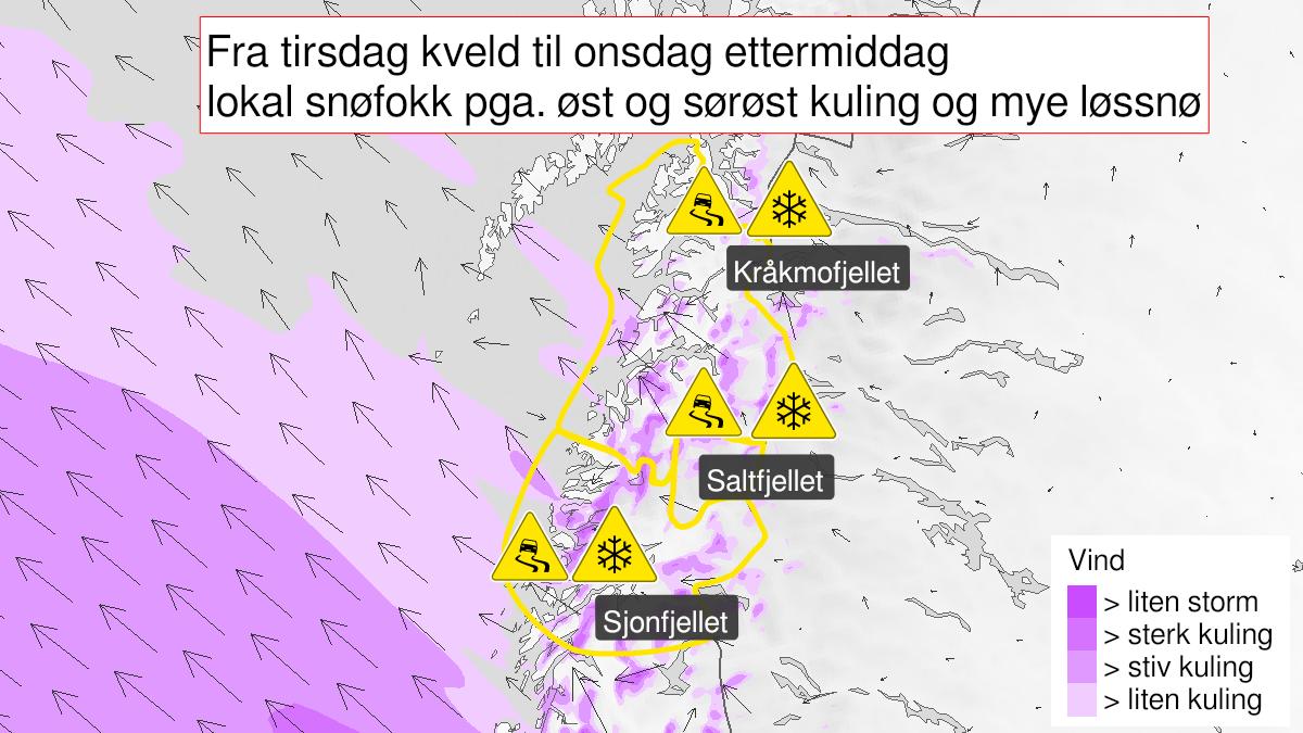 Kart over kraftig snøfokk, gult nivå, Nord-Helgeland, Saltfjellet og Salten, 16 February 18:00 UTC til 17 February 12:00 UTC.