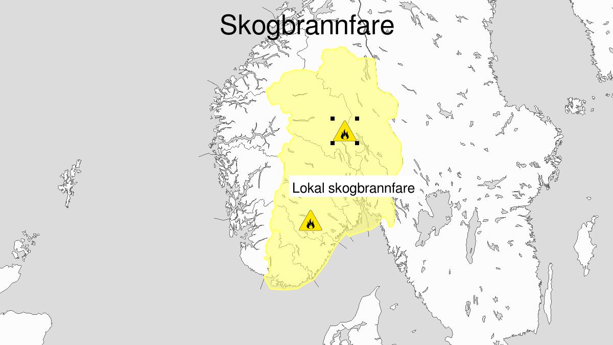 Skogbrannfare, gult nivå, Østafjells, 15 July 06:00 UTC til 18 July 22:00 UTC.