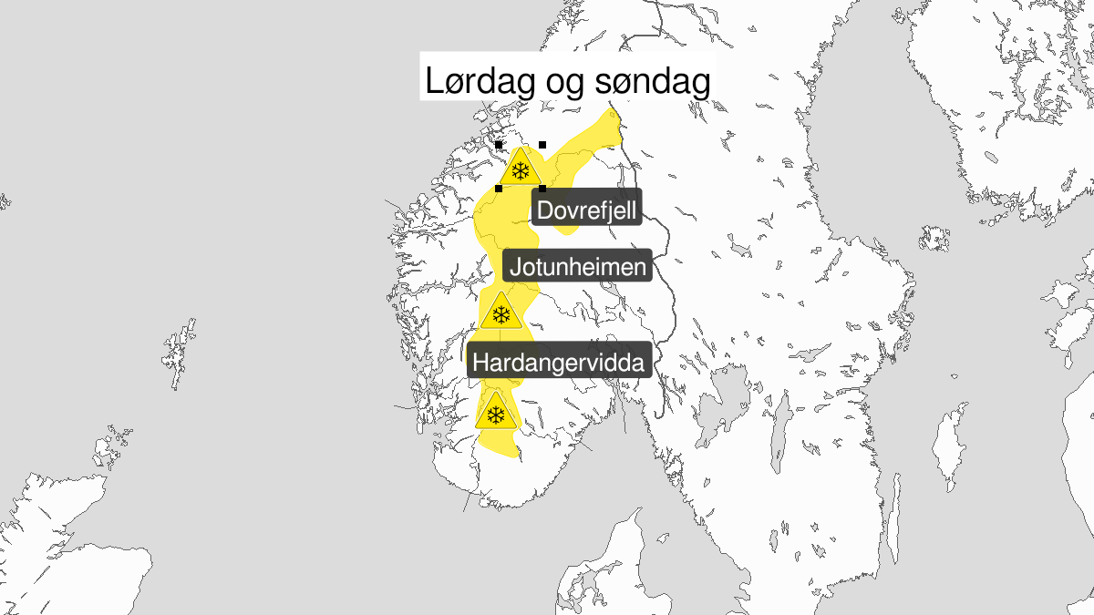 Map of snow, yellow level, Fjellet i Soer-Norge, 21 November 00:00 UTC to 22 November 21:00 UTC.