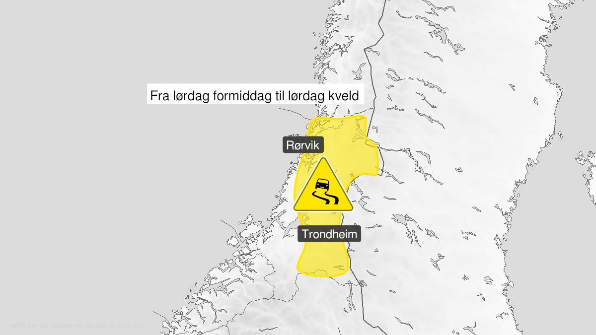 Kart over is, gult nivå, Trøndelag, 20 February 07:00 UTC til 20 February 20:00 UTC.