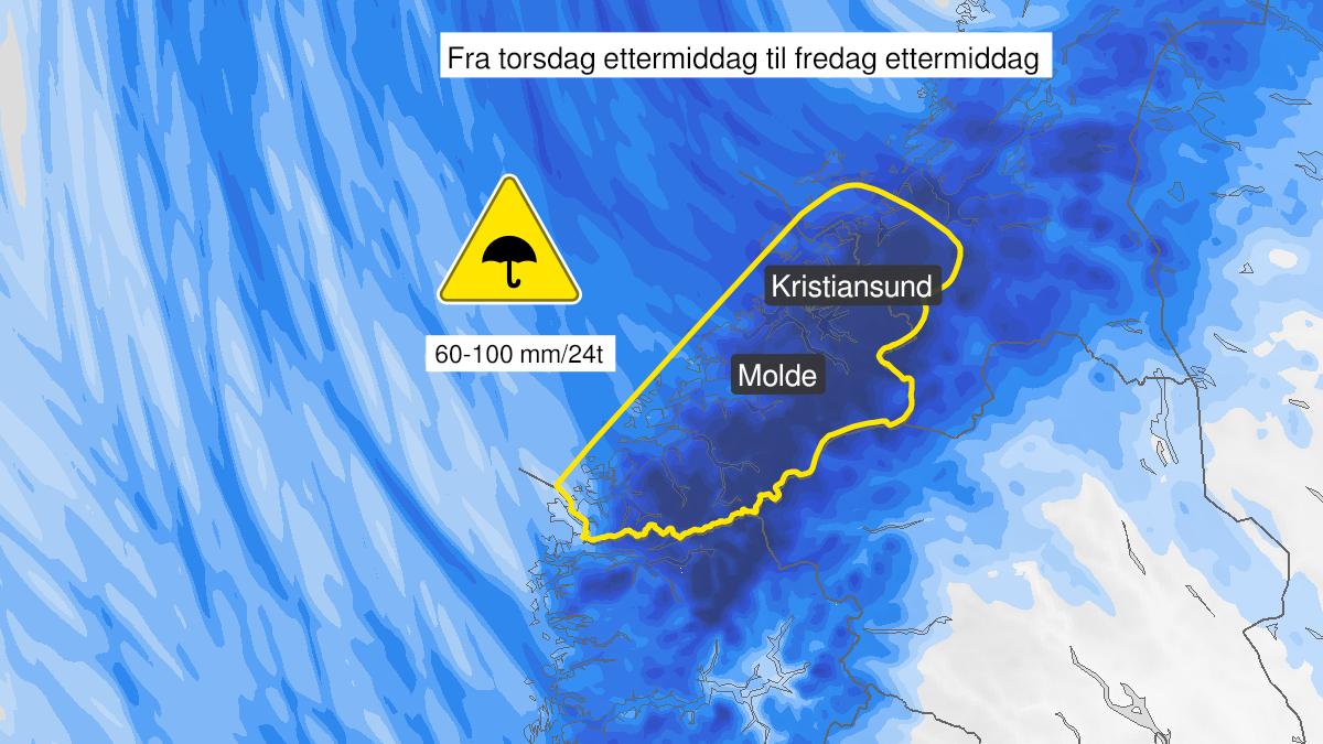 Kart over mye regn, gult nivå, Møre og Romsdal og Sør-Trøndelag, 21 October 13:00 UTC til 22 October 13:00 UTC.