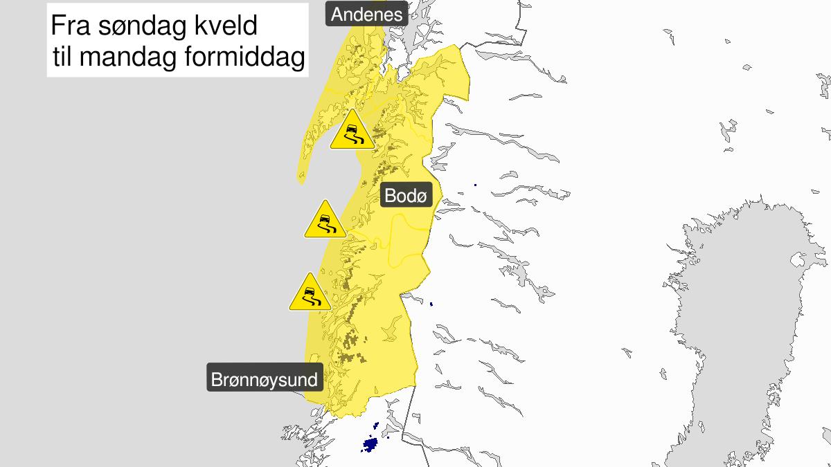 Kart over is, gult nivå, Nordland, 21 February 12:00 UTC til 22 February 09:00 UTC.