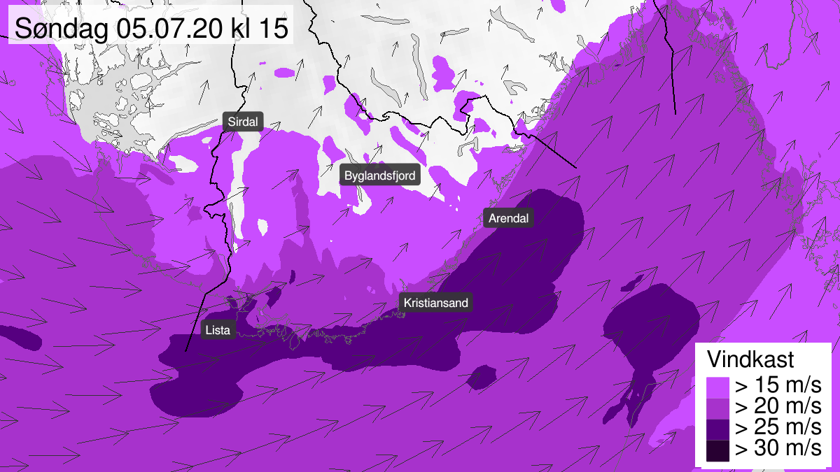 Kart over kraftige vindkast, gult nivå, Agder, 05 July 09:00 UTC til 05 July 22:00 UTC.