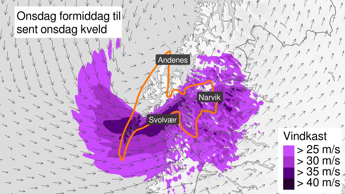 Kart over svært kraftige vindkast, oransje nivå, Ofoten, Lofoten og Vesterålen, 08 April 11:00 UTC til 08 April 20:00 UTC.