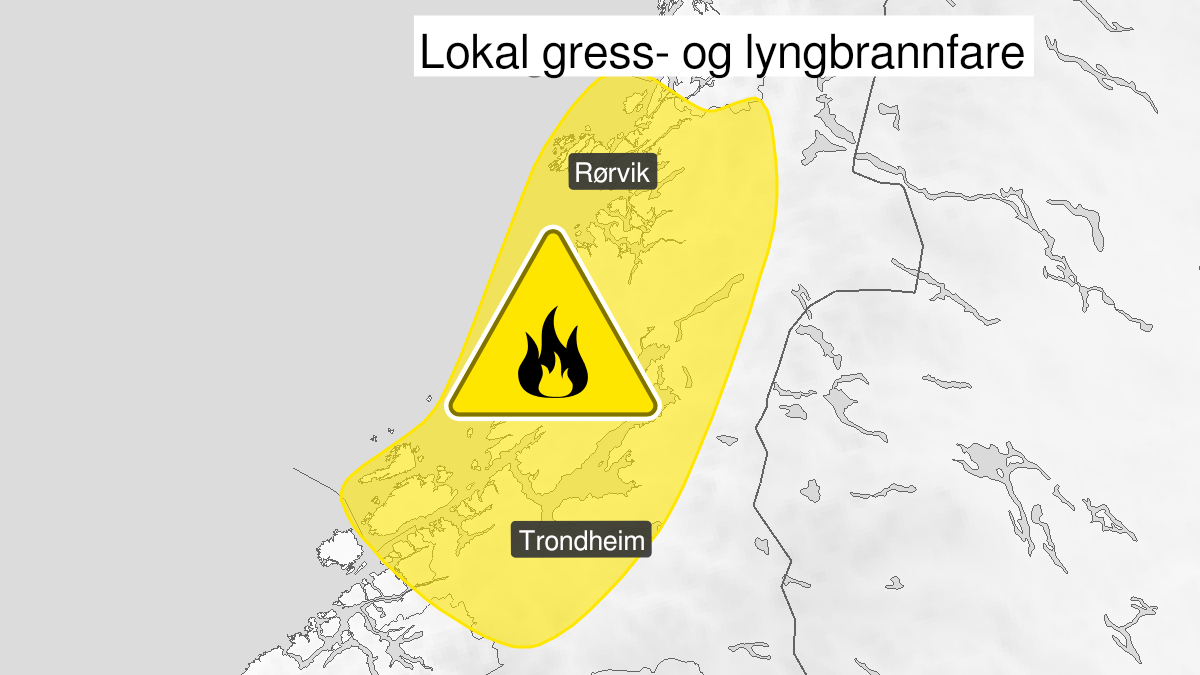 Map of forest fire danger, yellow level, Trøndelag, 14 May 09:00 UTC to 17 May 22:00 UTC.