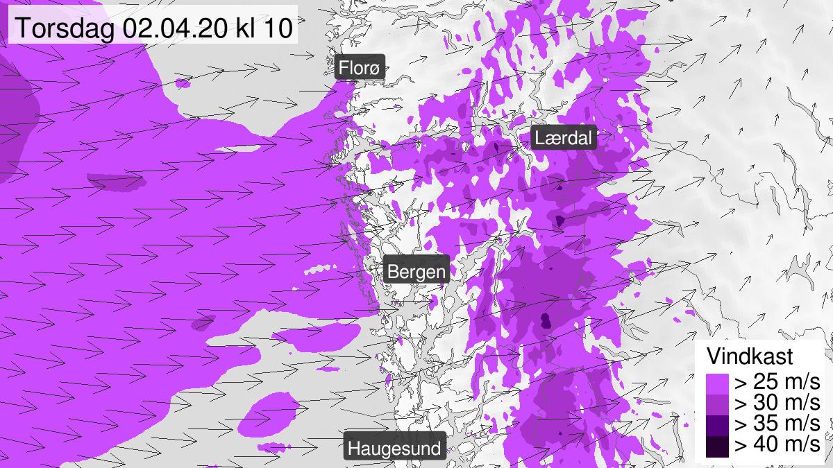 Kart over kraftige vindkast, gult nivå, Hordaland og Sogn og Sunnfjord, 02 April 06:00 UTC til 02 April 16:00 UTC.
