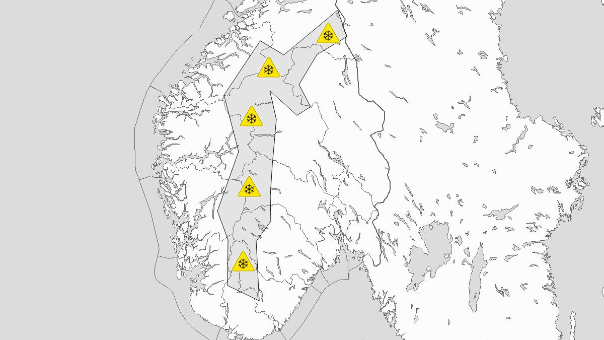 Mye snø, gult nivå, Fjellet i Sør-Norge, 12 September 15:00 UTC til 14 September 08:00 UTC.