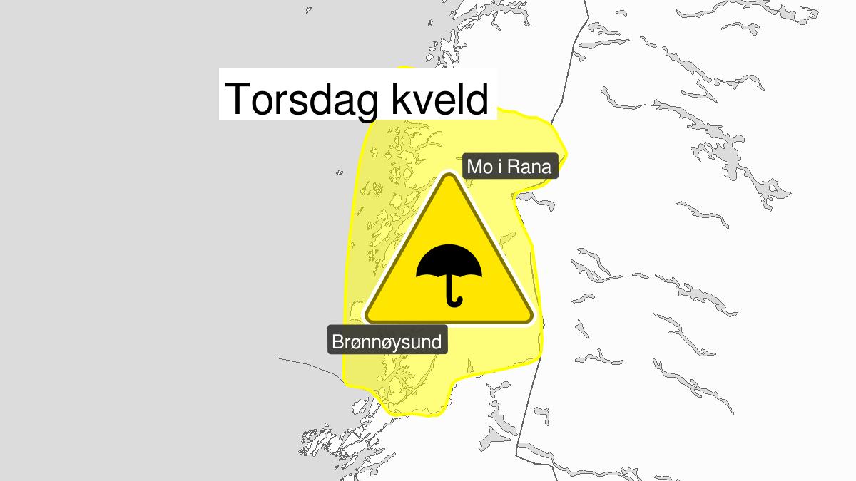 Kraftige regnbyger, gult nivå, Helgeland og Saltfjellet, 29 August 16:00 UTC til 29 August 23:00 UTC.
