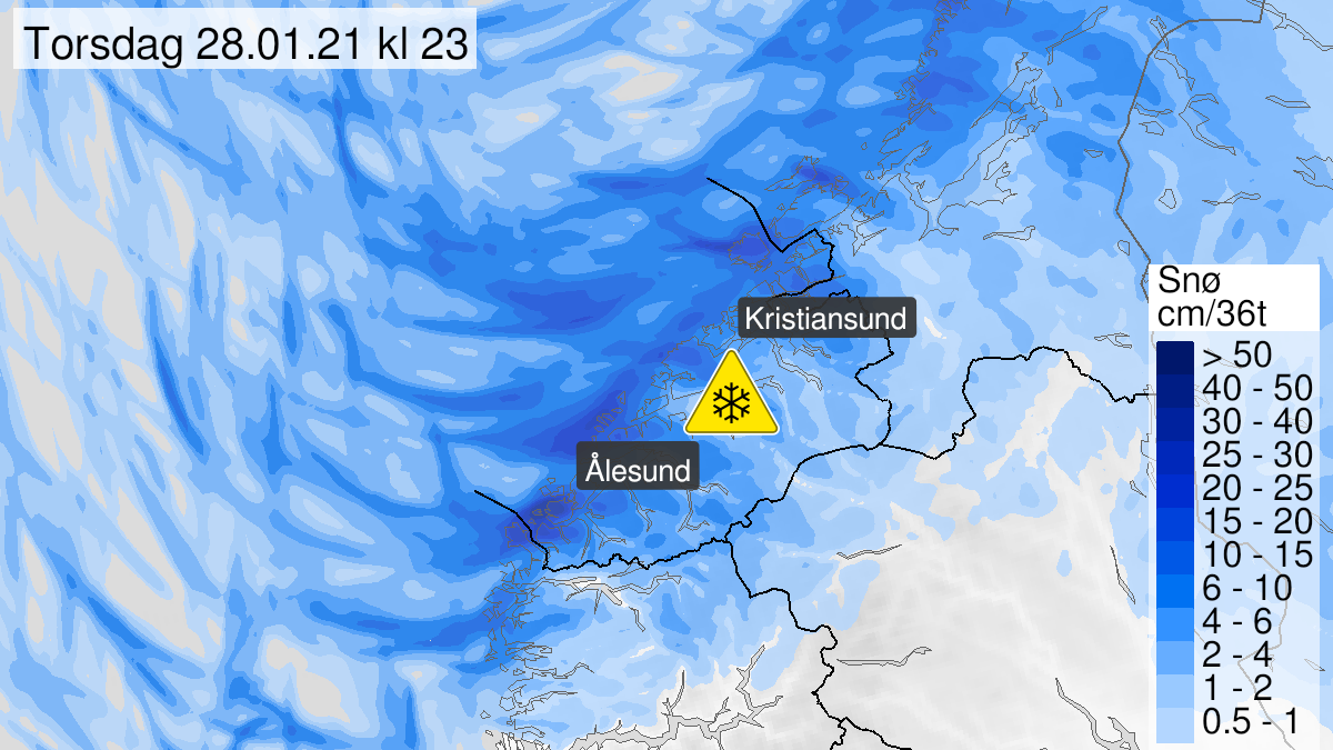 Map of snow, yellow level, Møre og Romsdal, 27 January 18:00 UTC to 28 January 23:00 UTC.