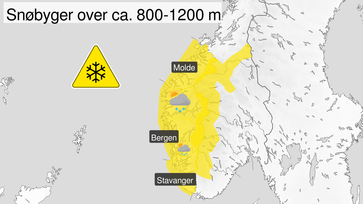 Map of heavy snow, yellow level, Vestlandet and fjellet i Soer-Norge, 06 July 18:00 UTC to 08 July 00:00 UTC.