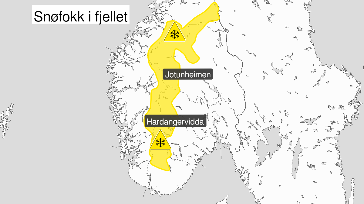 Map of blowing snow, yellow level, Fjellet i Soer-Norge, 20 January 18:00 UTC to 22 January 05:00 UTC.