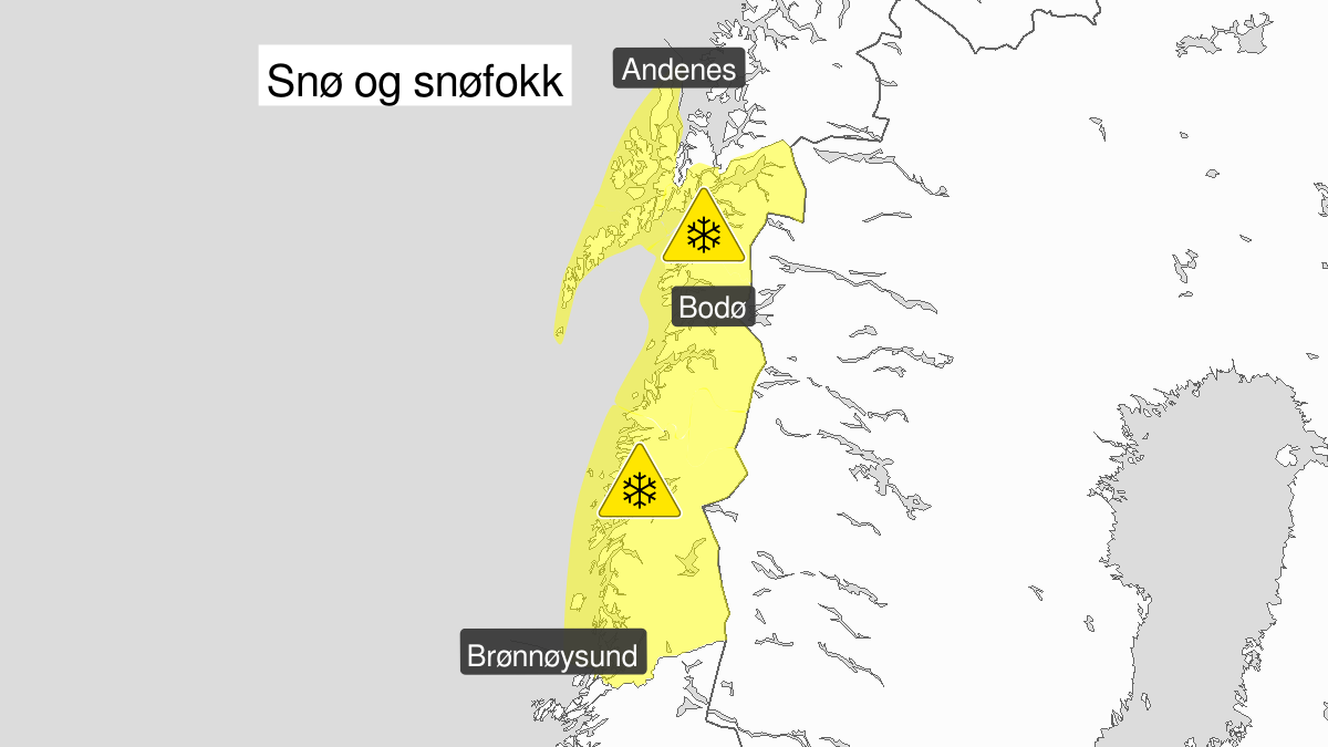Kart over kraftig snøfokk, gult nivå, Nordland, 30 March 18:00 UTC til 31 March 23:00 UTC.