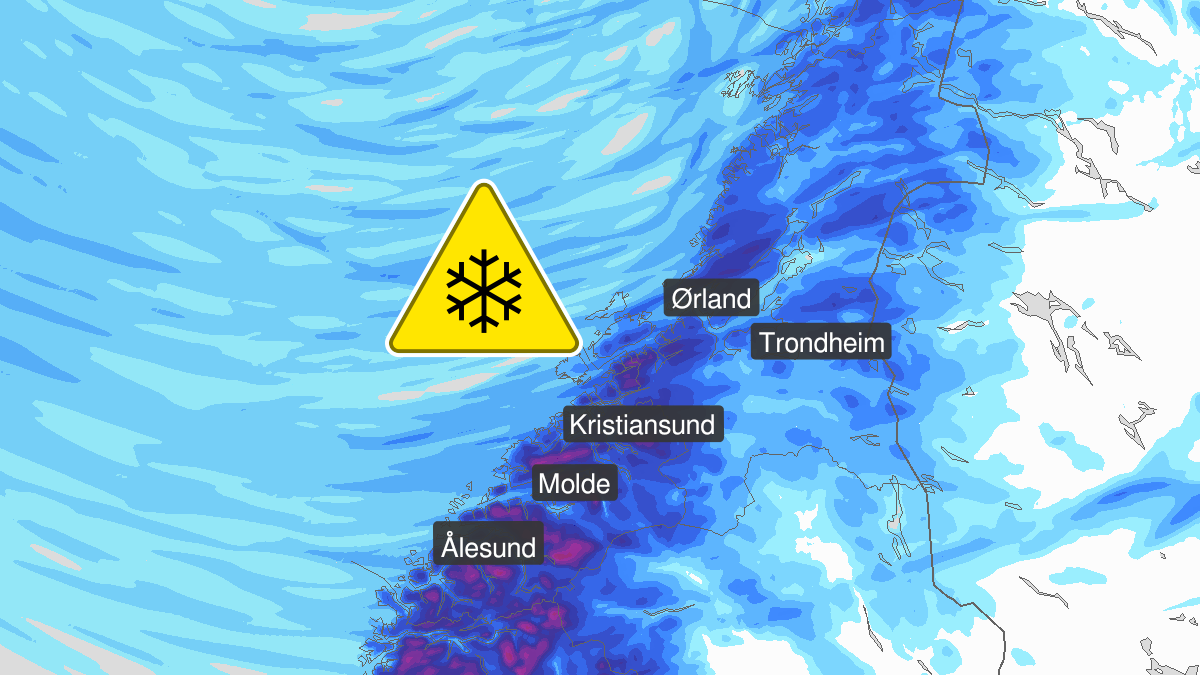 Map of heavy snow, yellow level, Moere and Romsdal and Troendelag, 12 May 10:00 UTC to 17 May 06:00 UTC.