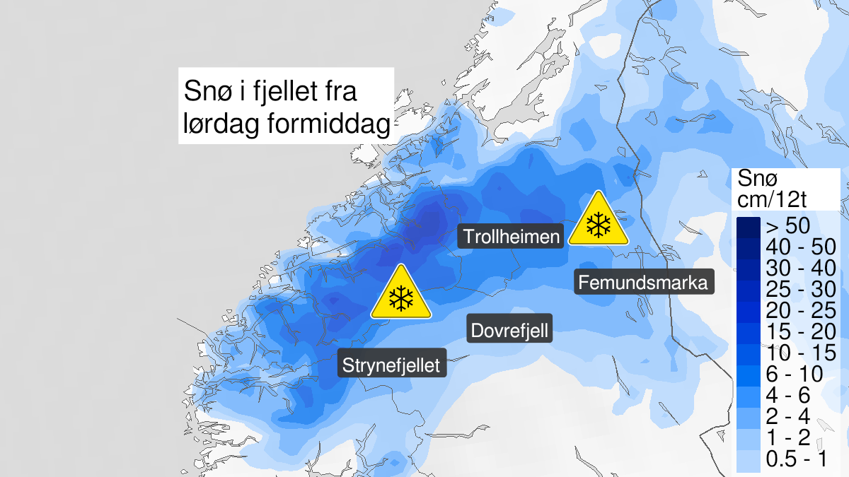 Kart over snø, gult nivå, Rondane, fjellstrøkene Dovrefjell -svenskegrensa og Trollheimen - Jotunheimen, 17 October 06:00 UTC til 18 October 22:00 UTC.
