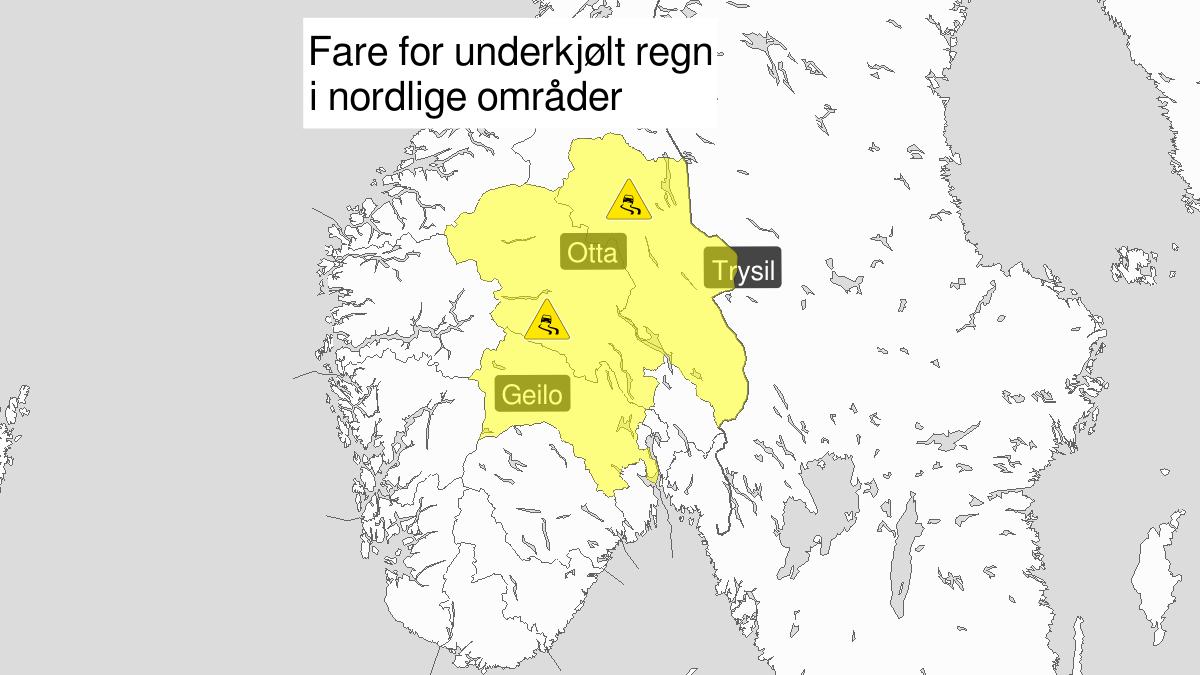 Is, gult nivå, Buskerud, Oppland og Hedmark, 21 November 09:00 UTC til 22 November 00:00 UTC.