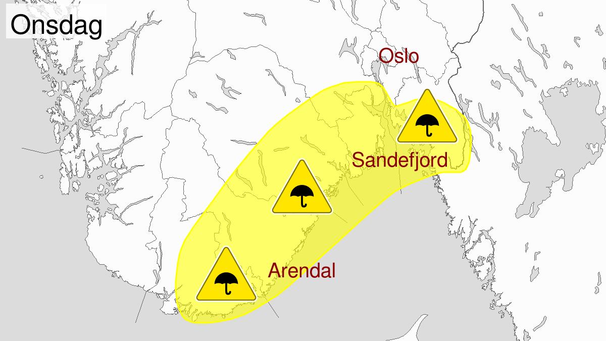 Kraftige regnbyger, gult nivå, Agder og Telemark, Vestfold og Østfold og Buskerud, 27 August 22:00 UTC til 28 August 10:00 UTC.
