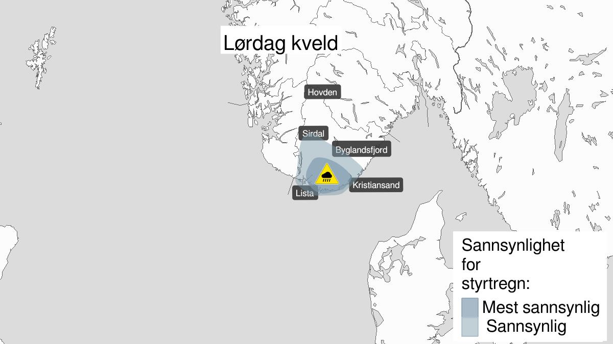 Map of heavy rainshowers, yellow level, Agder, 27 June 19:00 UTC to 27 June 23:00 UTC.
