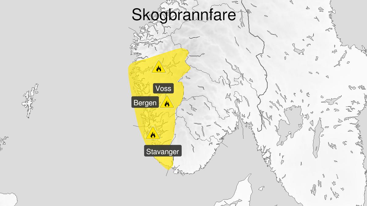 Kart over skogbrannfare, gult nivå, Rogaland, Hordaland og Sogn, 10 June 08:00 UTC til 11 June 22:00 UTC.