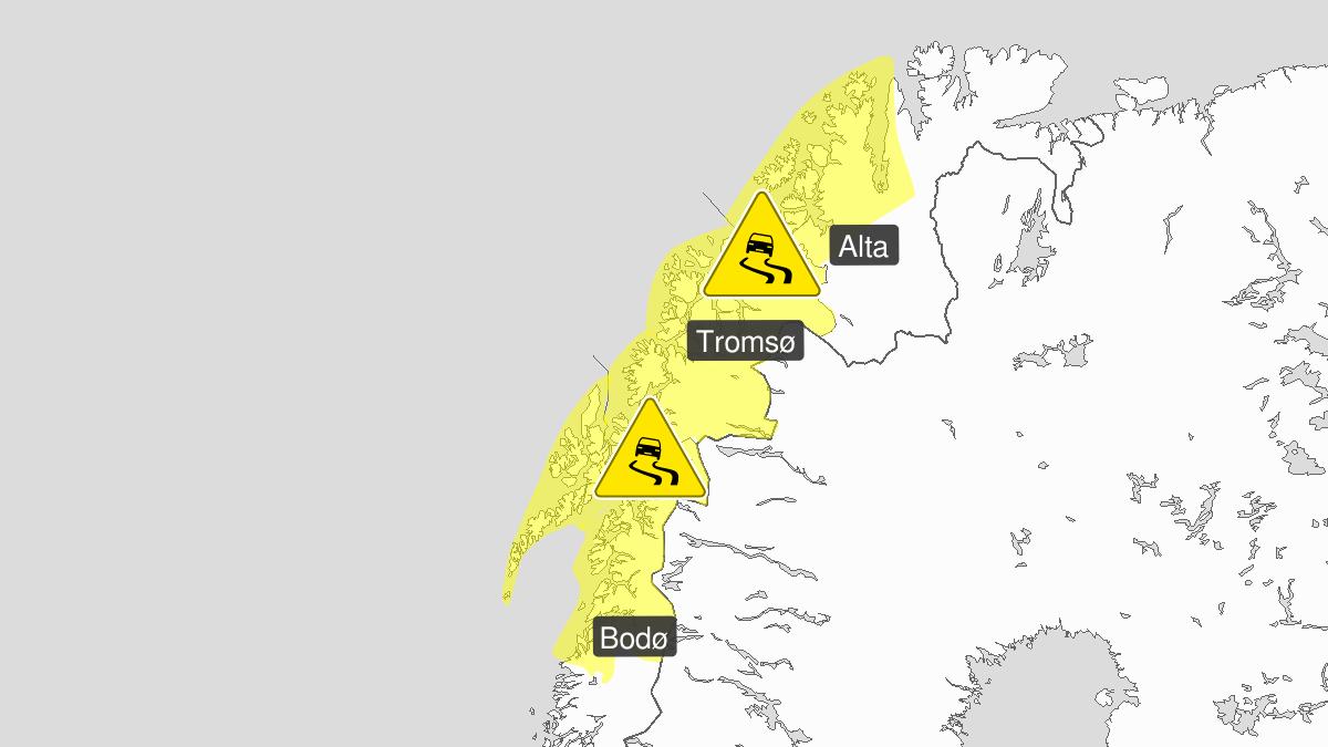 Is, gult nivå, Troms og Kyst- og Fjordstrøkene i Vest-Finnmark, 14 November 20:00 UTC til 16 November 06:00 UTC.
