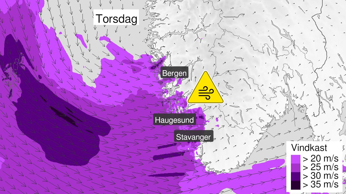 Kart over kraftige vindkast, gult nivå, Rogaland og Hordaland, 23 September 07:00 UTC til 23 September 14:00 UTC.
