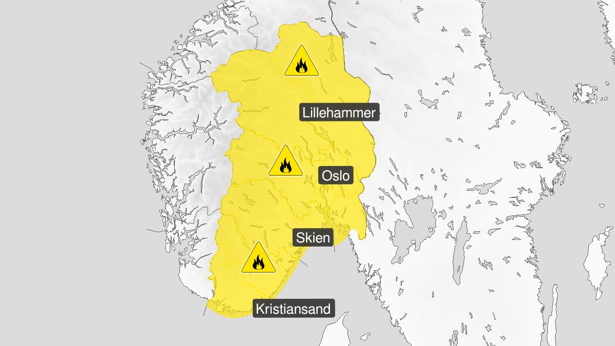 Kart over skogbrannfare ventes, gult nivå, Østafjells, 01 June 09:00 UTC til 04 June 07:00 UTC.