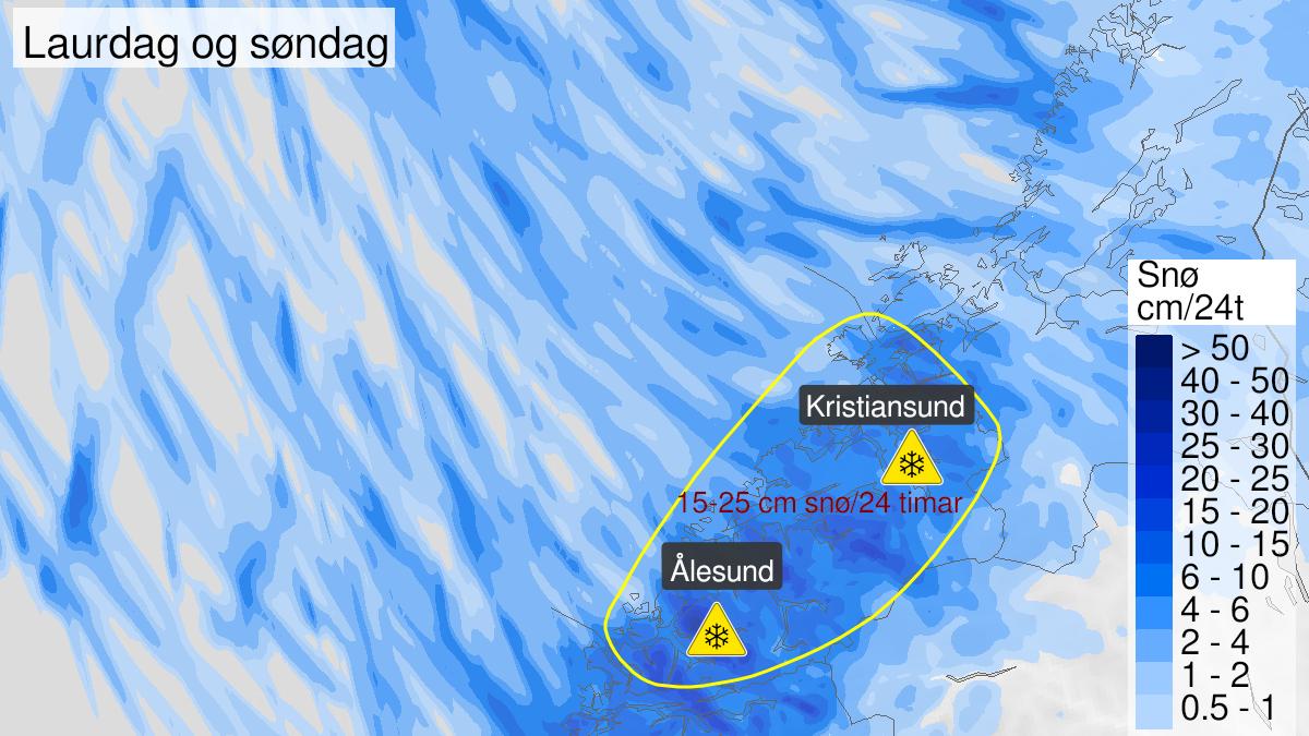 Kart over snø, gult nivå, Møre og Romsdal, 31 January 00:00 UTC til 01 February 00:00 UTC.