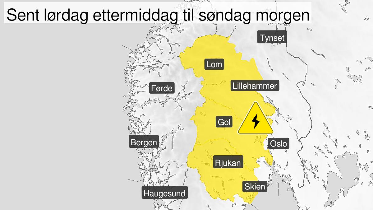 Kart over mye lyn, gult nivå, Telemark, Buskerud og Oppland, 31 July 14:00 UTC til 01 August 00:00 UTC.