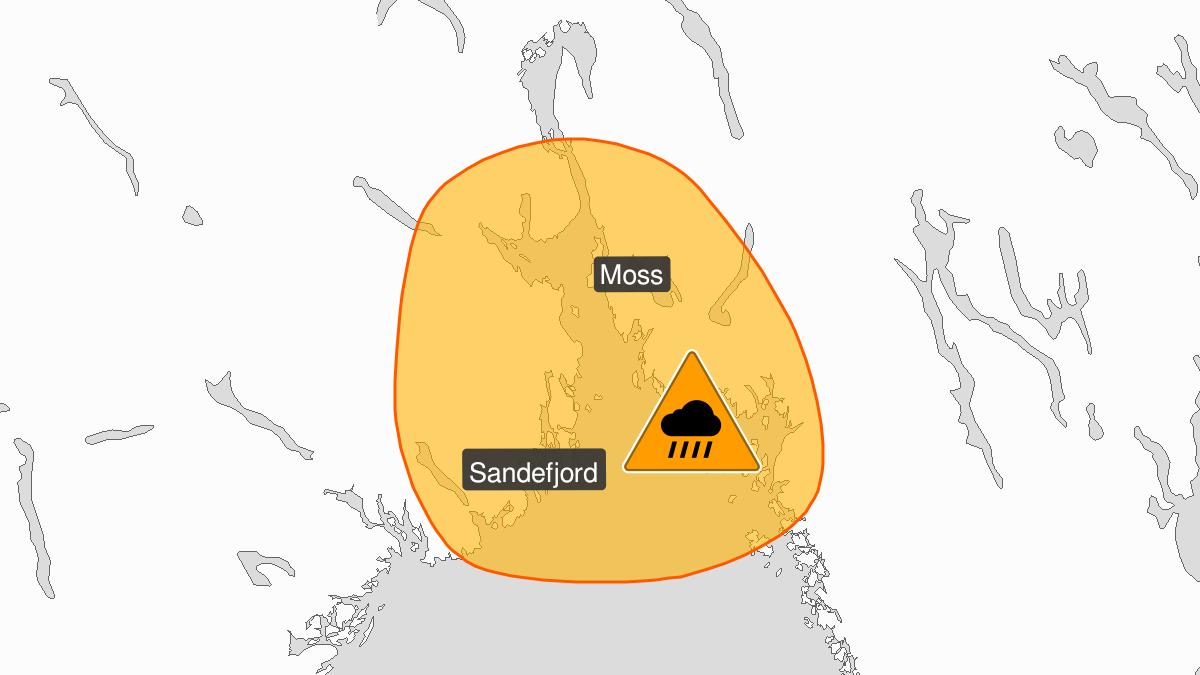 Kart over svært kraftig styrtregn pågår, oransje nivå, Østfold og Vestfold, 29 July 05:00 UTC til 29 July 10:00 UTC.