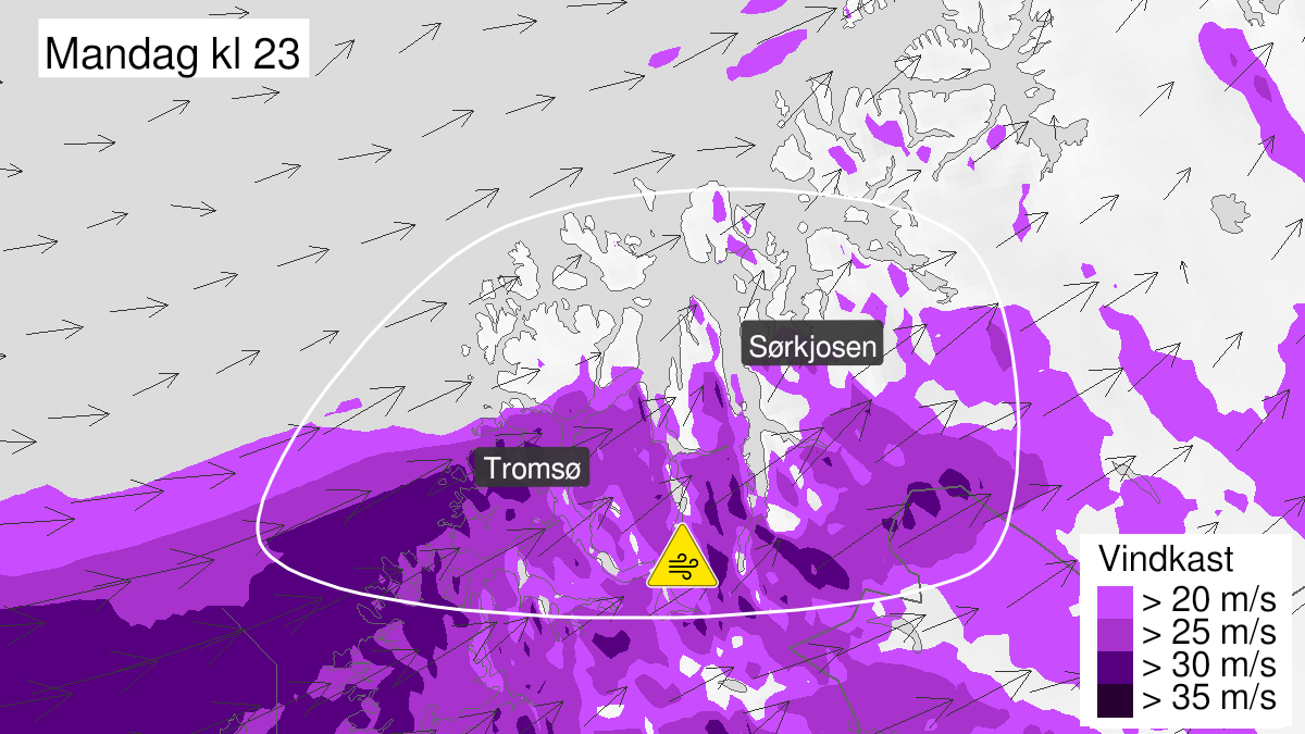 Map of strong wind gusts, yellow level, Nord-Troms, 21 September 18:00 UTC to 22 September 05:00 UTC.