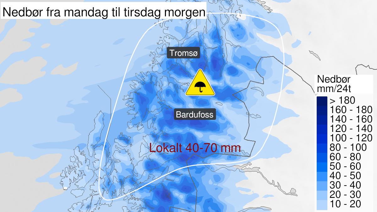Kart over mye regn, gult nivå, Troms, 21 September 05:00 UTC til 22 September 05:00 UTC.