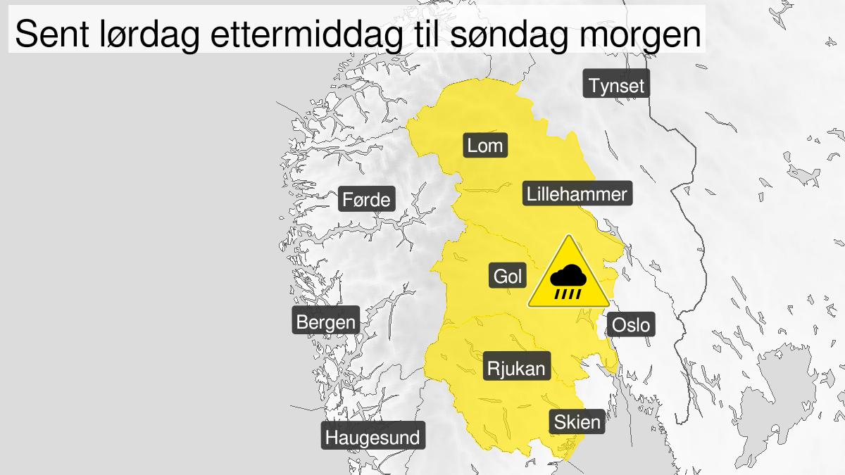 Kart over styrtregn, gult nivå, Telemark, Buskerud og Oppland, 31 July 14:00 UTC til 01 August 00:00 UTC.