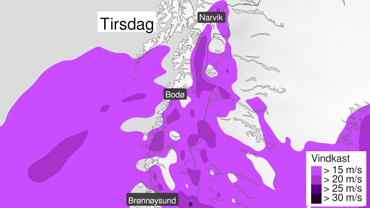 Map of strong wind gusts, yellow level, Helgeland, Saltfjellet, Salten and Ofoten, 12 January 00:00 UTC to 13 January 00:00 UTC.