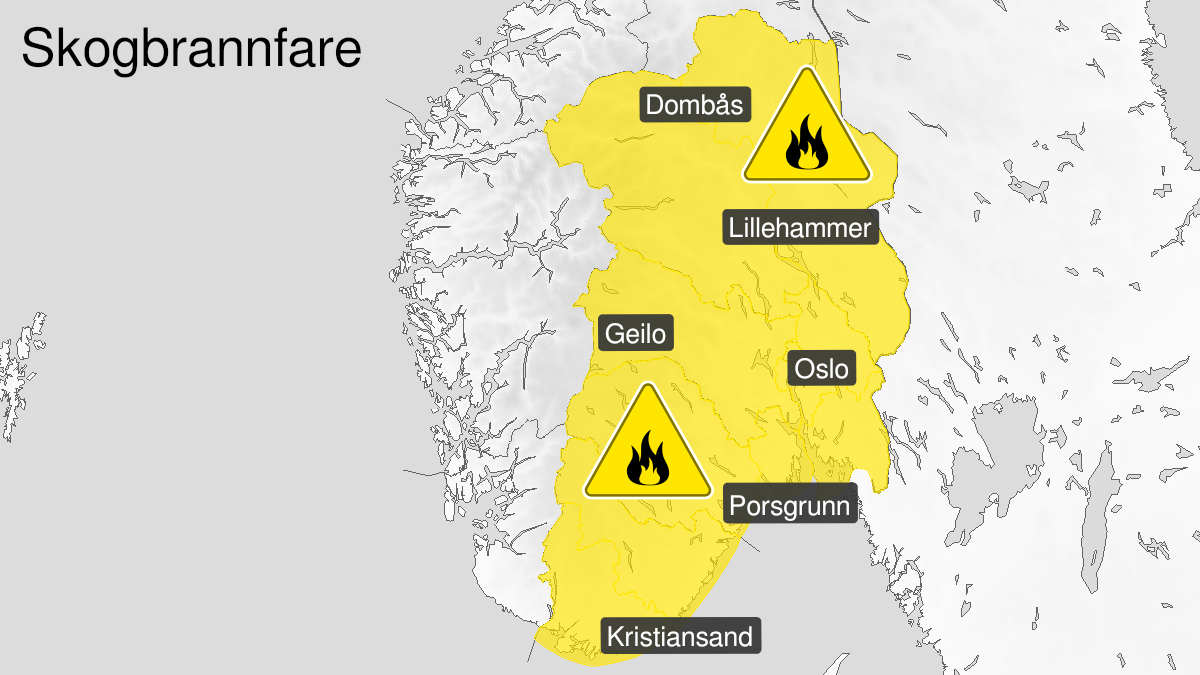 Kart over skogbrannfare, gult nivå, Østafjells, 23 July 05:00 UTC til 27 July 22:00 UTC.