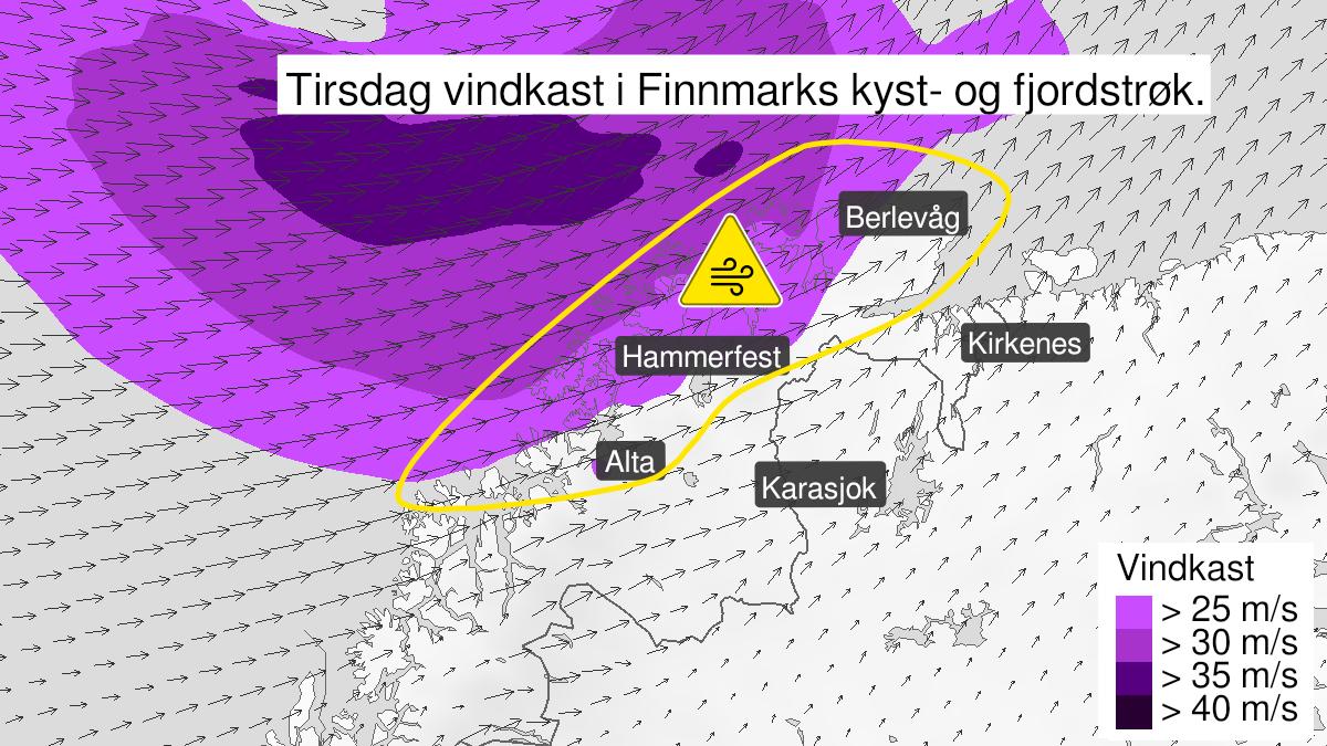 Kart over kraftige vindkast, gult nivå, Kyst- og fjordstrøkene i Finnmark, 23 March 06:00 UTC til 23 March 23:00 UTC.