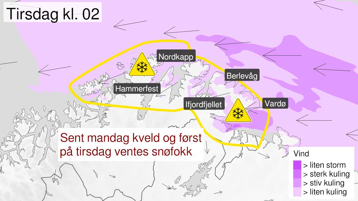 Map of blowing snow, yellow level, Kyst- and fjordstroekene i Finnmark, 18 January 20:00 UTC to 19 January 09:00 UTC.