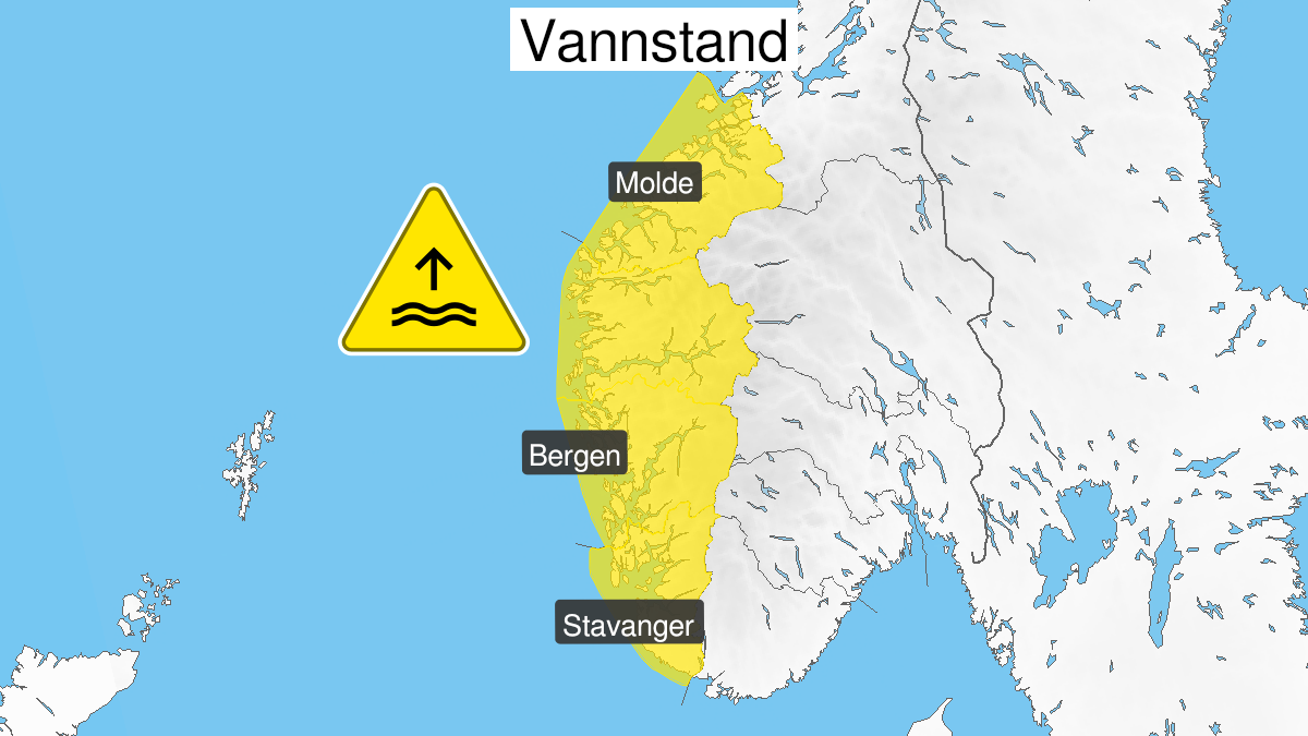 Map of high water level, yellow level, Vestlandet, 02 November 09:00 UTC to 02 November 12:00 UTC.