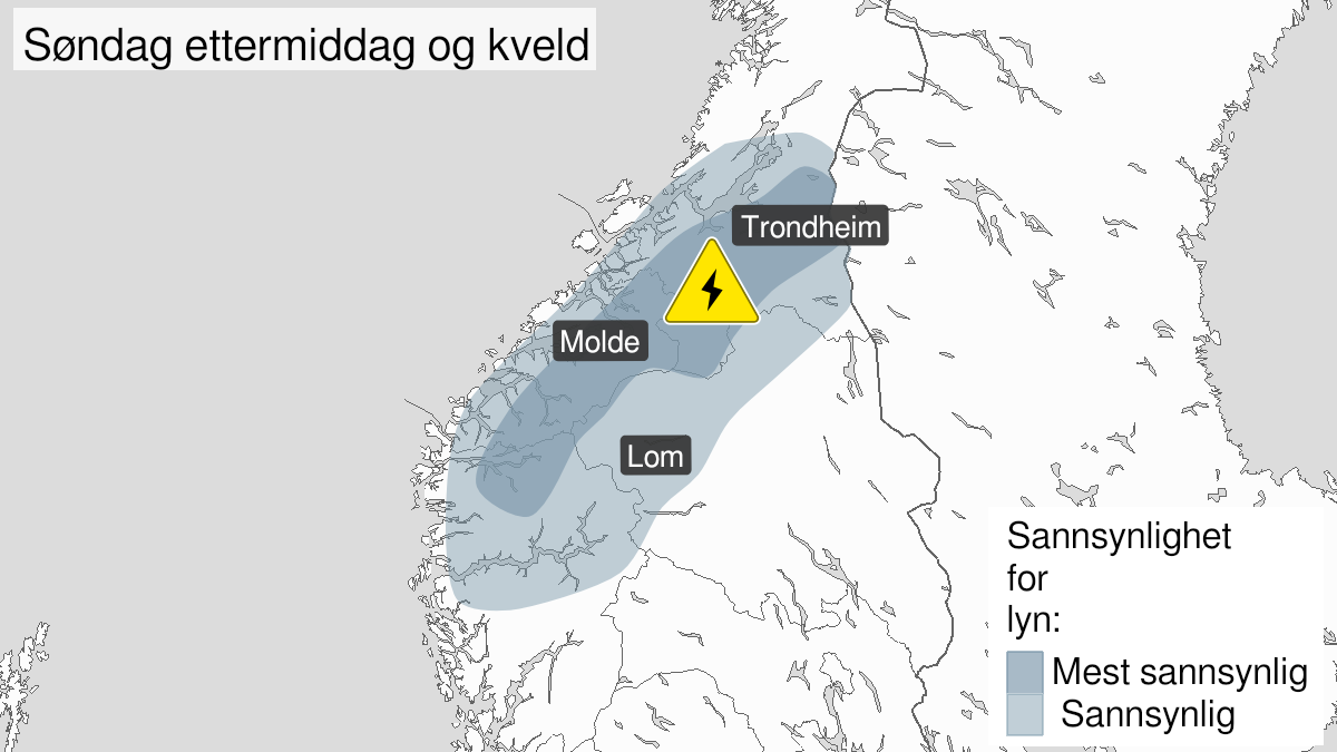 Map of frequent lightning, yellow level, North in Innlandet, inner parts of Sogn and Fjordane, Møre and Romsdal, and inner parts south in Trøndelag, 25 July 12:00 UTC to 26 July 00:00 UTC.