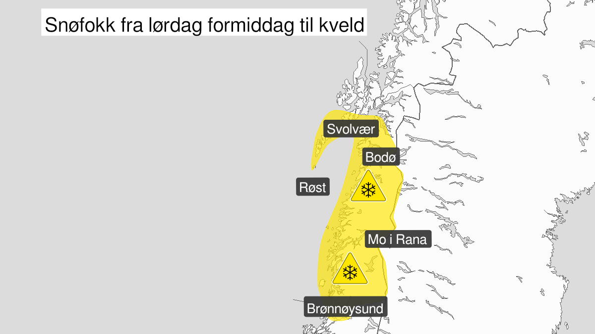Map of blowing snow, yellow level, Helgeland, Saltfjellet, Salten and Lofoten, 06 March 09:00 UTC to 06 March 18:00 UTC.