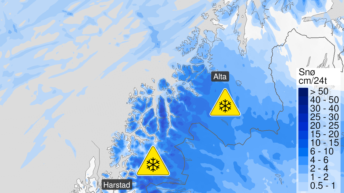Map of snow, yellow level, Troms and Vest-Finnmark med Vidda, 16 October 06:00 UTC to 18 October 07:00 UTC.