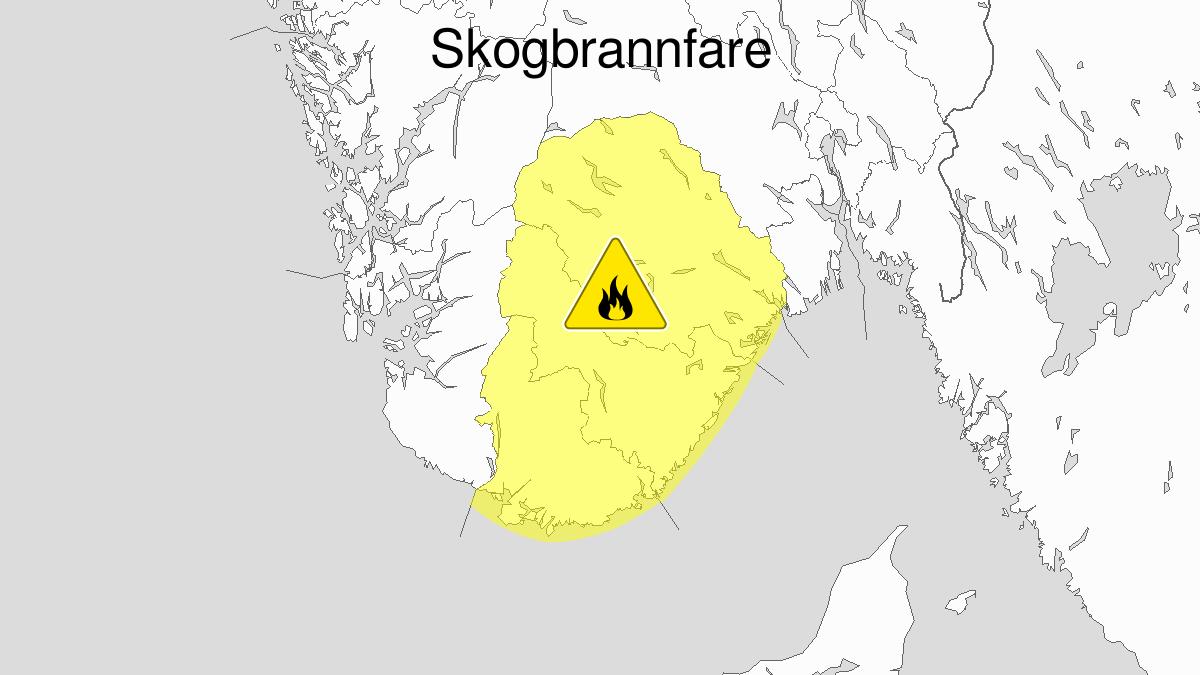 Skogbrannfare, gult nivå, Telemark og Agder, 15 July 06:00 UTC til 18 July 22:00 UTC.