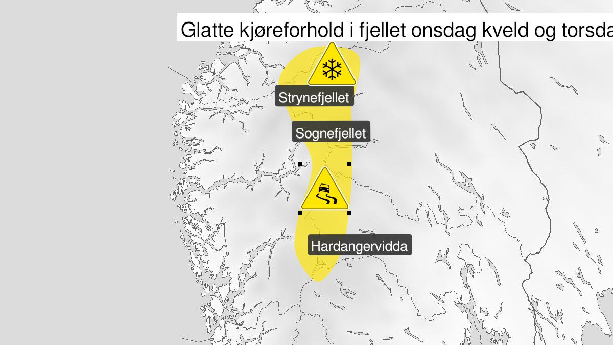 Kart over mye snø, gult nivå, Buskerud og Oppland og Møre og Romsdal, 09 September 19:00 UTC til 10 September 21:00 UTC.