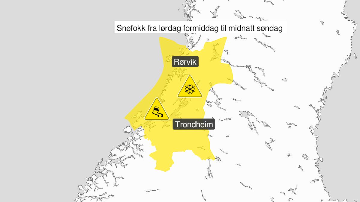 Kart over kraftig snøfokk, gult nivå, Trøndelag, 06 March 09:00 UTC til 06 March 23:00 UTC.