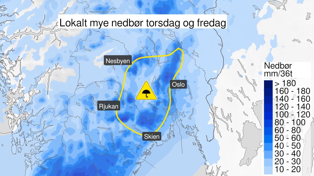 Kart over mye regn, gult nivå, Oslo, Akershus, Buskerud, Vestfold og Telemark, 20 January 23:00 UTC til 22 January 15:00 UTC.