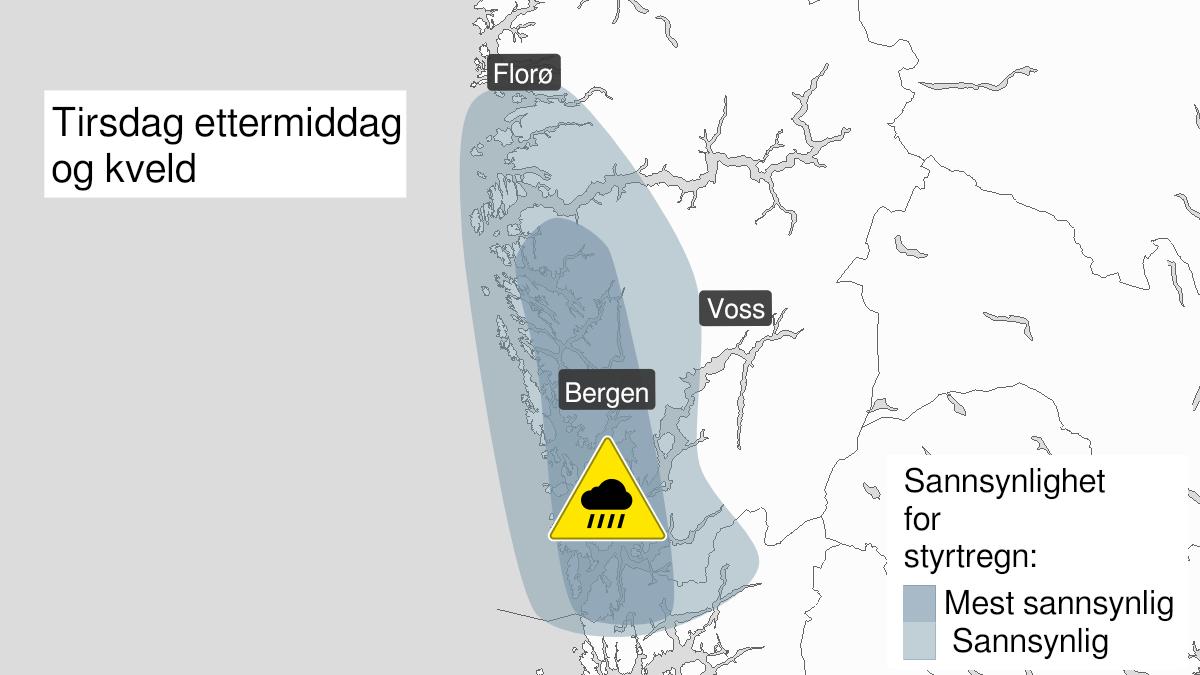 Kart over styrtregn, gult nivå, Hordaland, 27 July 13:00 UTC til 27 July 21:00 UTC.
