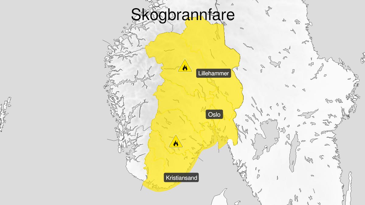 Map of forest fire danger expected, yellow level, Oestafjells, 11 June 13:00 UTC to 14 June 12:00 UTC.