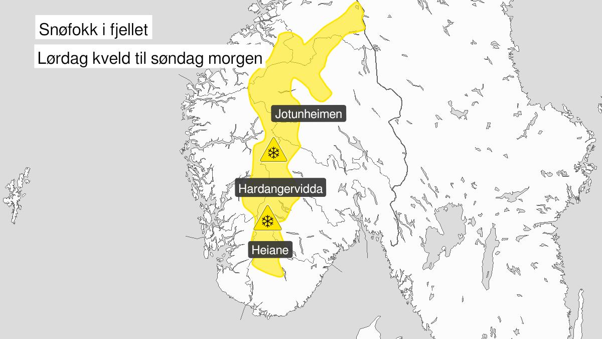 Map of blowing snow, yellow level, Fjellet i Soer-Norge, 09 January 16:00 UTC to 10 January 07:00 UTC.