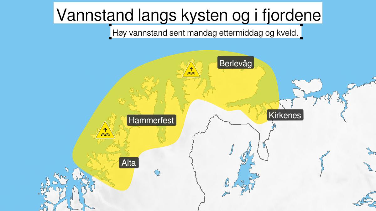 Kart over høy vannstand, gult nivå, Kyst- og fjordstrøkene i Finnmark, 01 March 13:00 UTC til 01 March 20:00 UTC.