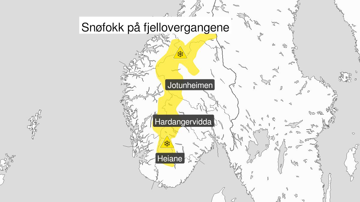 Kart over kraftig snøfokk, gult nivå, Fjellet i Sør-Norge, 16 February 16:00 UTC til 19 February 04:00 UTC.