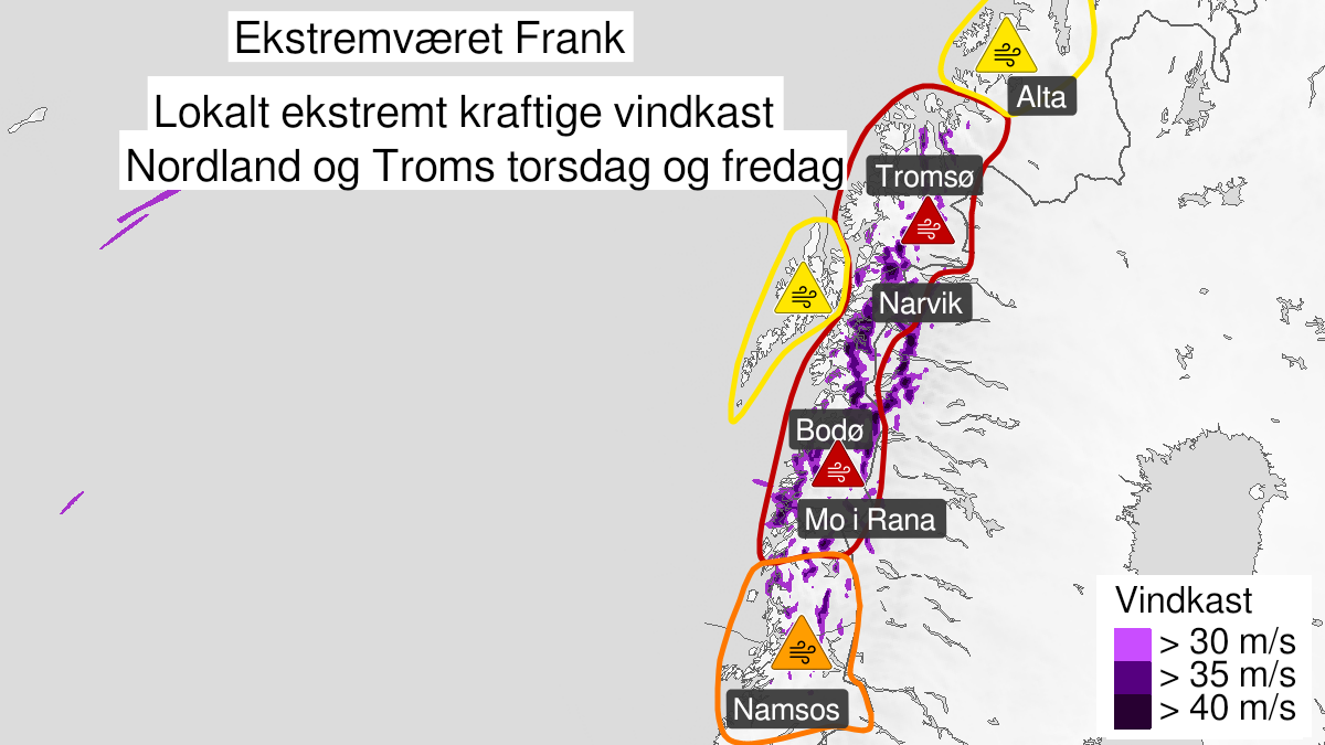 Map of extreme weather Frank: Extremely strong wind gusts, red level, Nord-Helgeland, Salten, Ofoten, Sør-Troms and Nord-Troms, 21 January 12:00 UTC to 22 January 12:00 UTC.