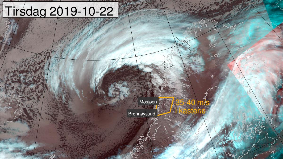 Svært kraftige vindkast, oransje nivå, Helgeland, 22 October 09:00 UTC til 22 October 18:00 UTC.